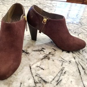Suede and leather booties. Leather lining. New.